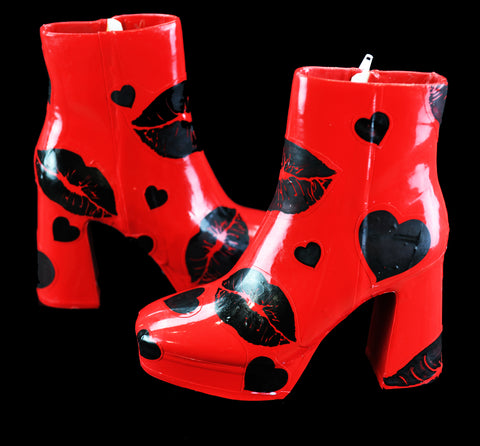 Red Kiss Latex Boots