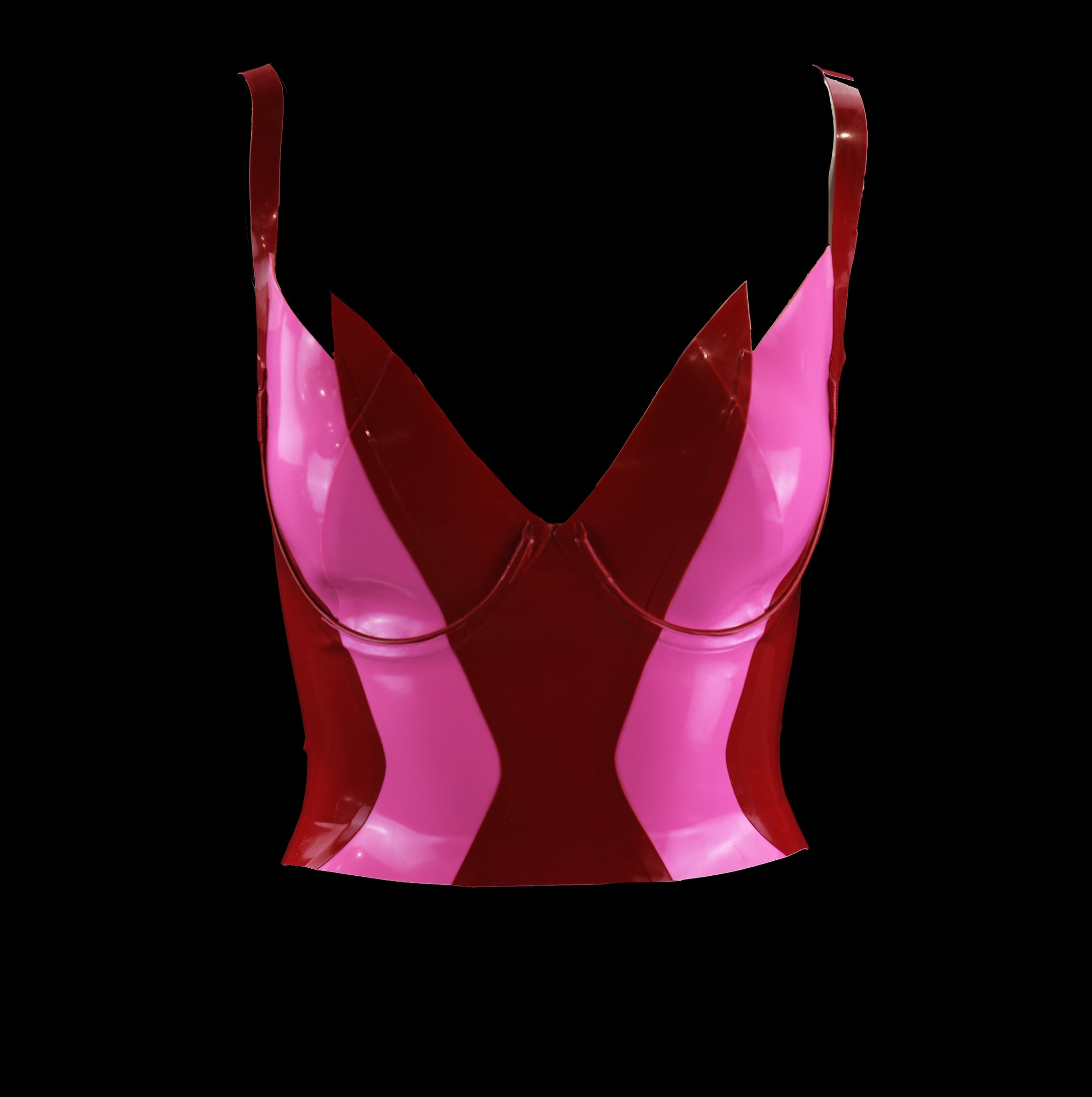Red & Pink Tulip Latex Bustier