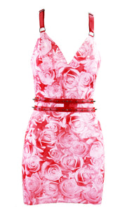 Rose Print Racer Back Latex Mini Dress with Studded Belt
