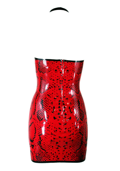 Red Snake Print Latex Mini Dress