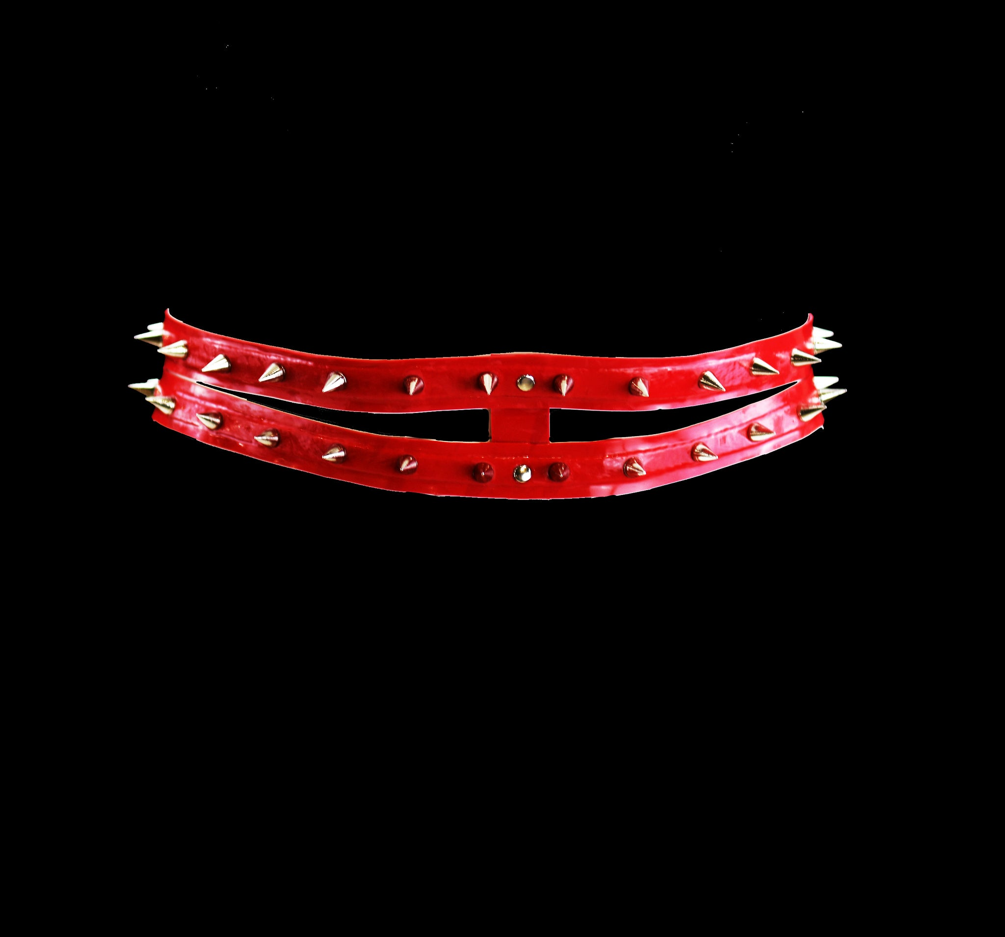Spiked Red Latex Double Row Belt