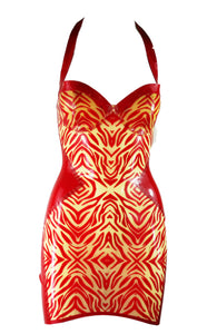 Natural Transparent Zebra Print Latex Halter Mini Dress