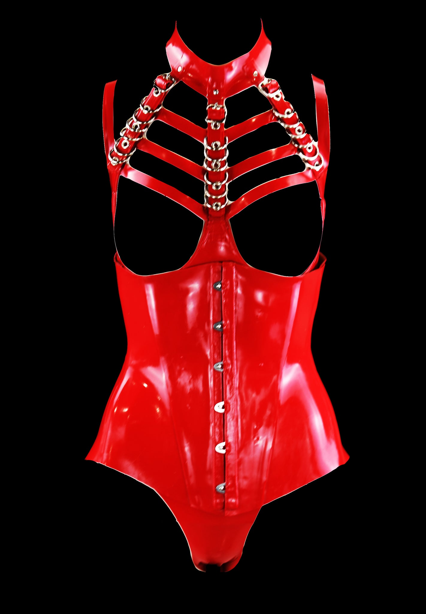 Cherry Red Latex Triple Restricted Neck Cage Bra & Heavy Rubber Underbust Corset