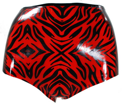 Red Zebra Print Latex High Waisted Booty Shorts - BIZARRE FETISH COUTURE