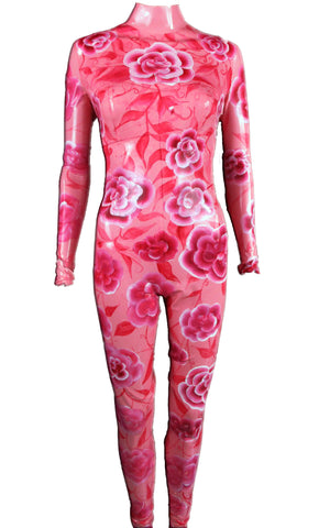 Rose Print Latex Catsuit