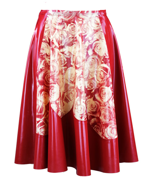 Rose Print Latex Ruffle Skirt