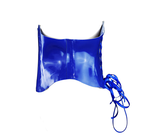 Royal Blue Heavy Rubber Latex Corset