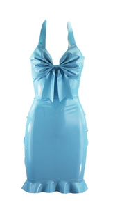 Latex Bow Ruffle Dress