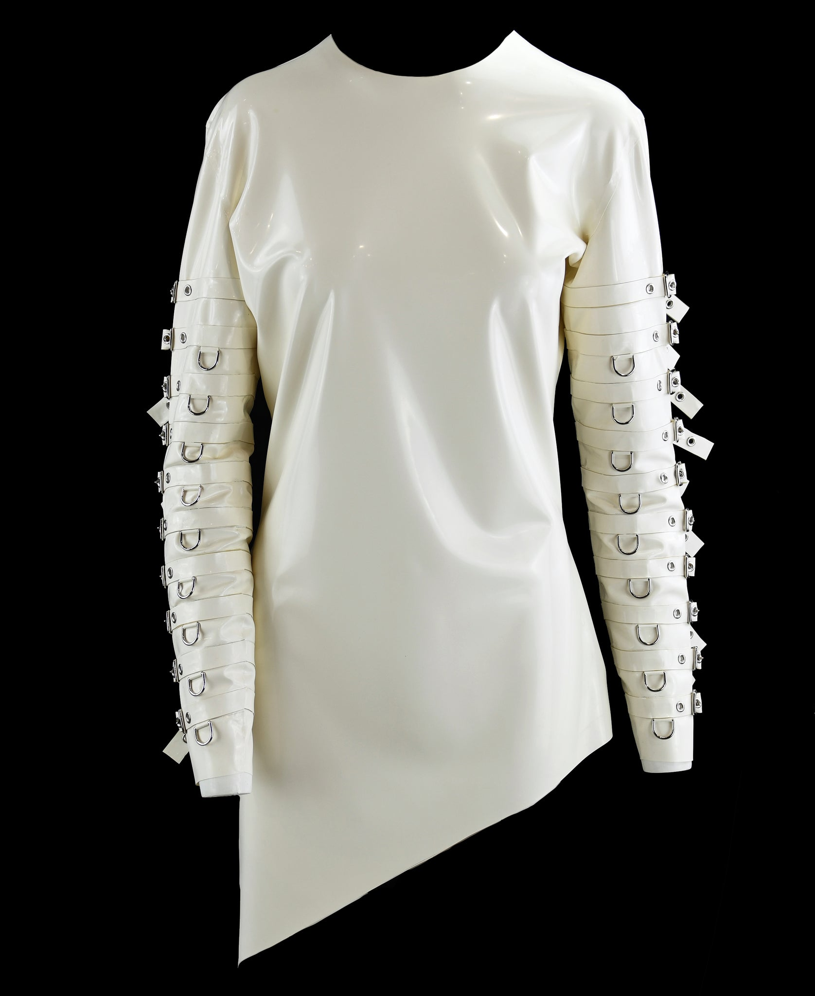 White Long Sleeve Latex Scissor Hand Shirt
