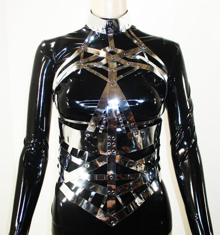 Silver Chrome Skull Body Harness