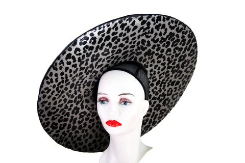 Metallic Leopard Print Wide Brim Hat