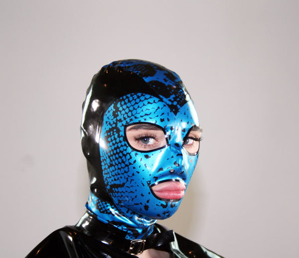 Blue Snake Print Latex Mask