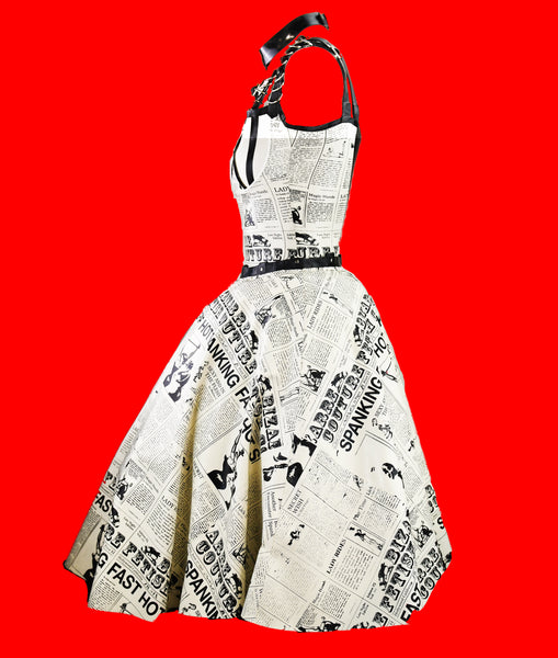 Convertible Latex Newspaper Print Sock Hop Dress