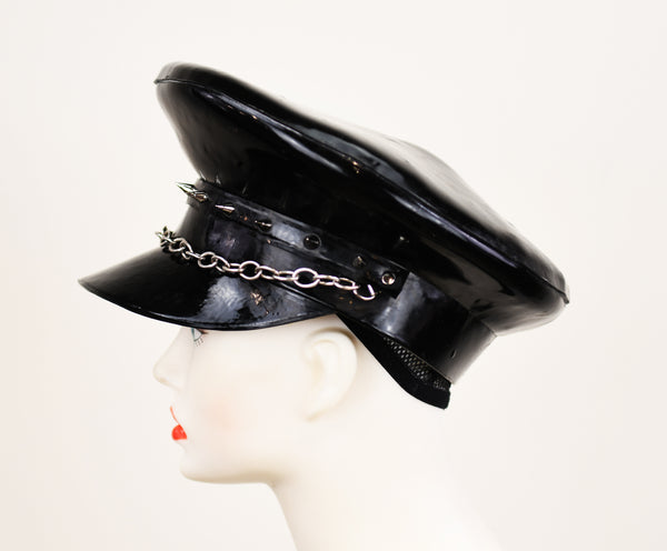 Spiked Chain Latex Leather Daddy Hat