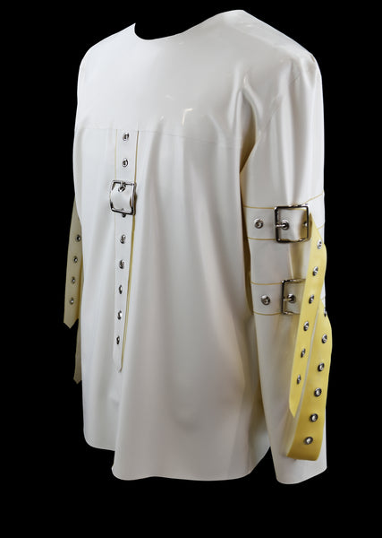 Men's White Latex Oversized Straight Jacket