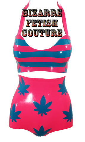 The Latex Striped Weed Bikini - BIZARRE FETISH COUTURE