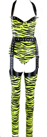 Studded zebra Latex Bodysuit, Black Latex Garter Belt & zebra Print Latex Stirrup Stockings