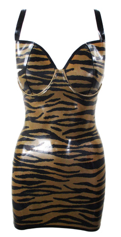 Tiger Print Latex Halter Mini Dress