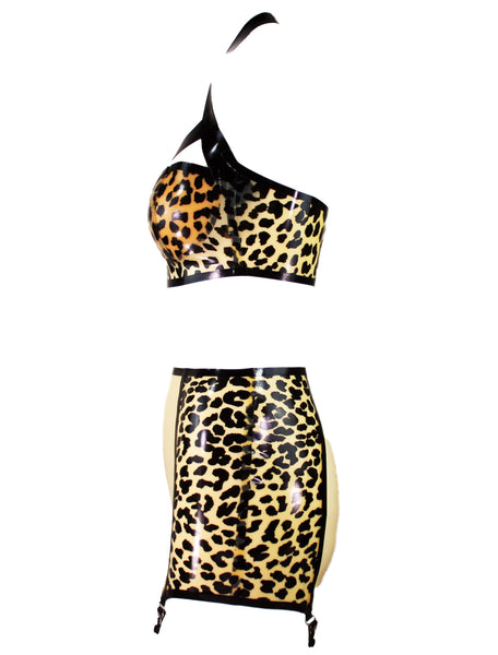 Transparent Leopard Latex Halter Bra & Garter Skirt
