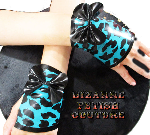 Turquoise Leopard Print Fingerless Gloves - BIZARRE FETISH COUTURE