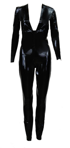 Black Deep V Plunge Latex Catsuit