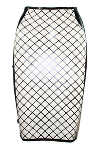 Fishnet Latex Pencil Skirt