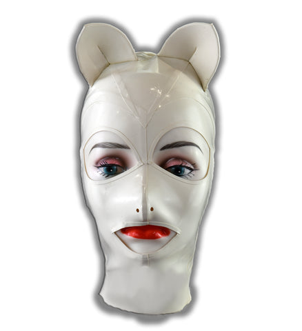 White Girl Kitty Latex Full Face Mask w/ Kitty Ears
