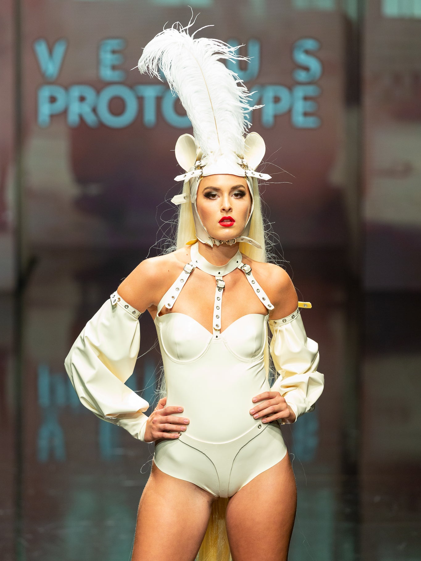 White Latex Restricted Bodysuit with White Latex Puff Sleeves