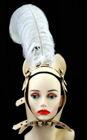 White Latex Pony Girl Feather Head Harness