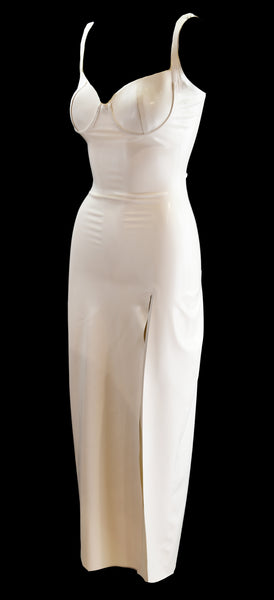 White Latex High Slit Gown