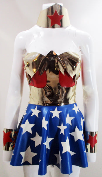 Gold Chrome Plated Latex Wonder Woman Outfit