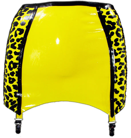Leopard Print Latex Mini Skirt w/ Garters - BIZARRE FETISH COUTURE
