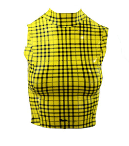 Plaid Latex Sleeveless Crop Top