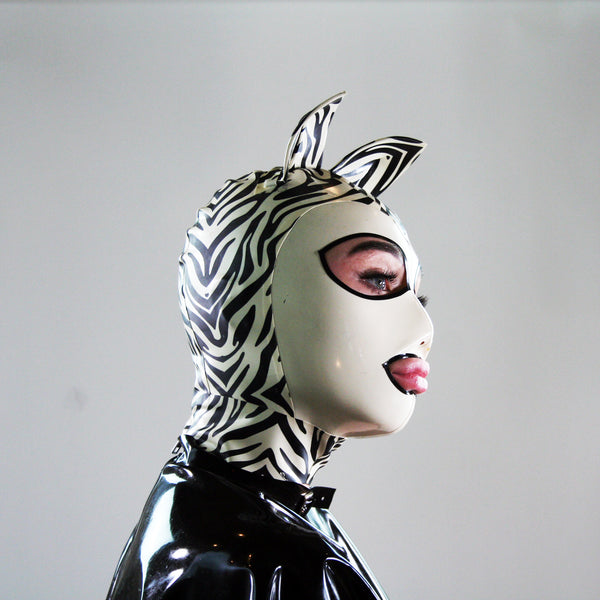 Zebra Print Latex Mask