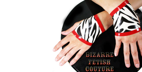 Zebra Print Latex Fingerless Gloves - BIZARRE FETISH COUTURE