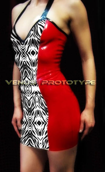 Red Zebra Print Latex Mini Halter Dress