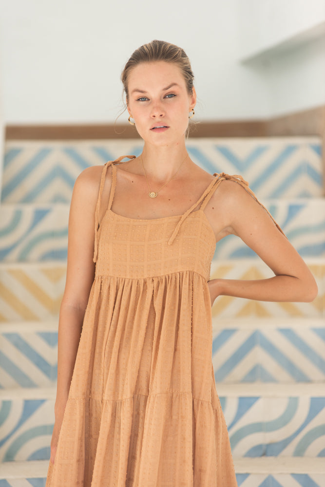 Georgie Dress - Taupe Swiss Dott