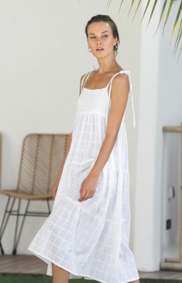 Georgie Dress - White Swiss Dott