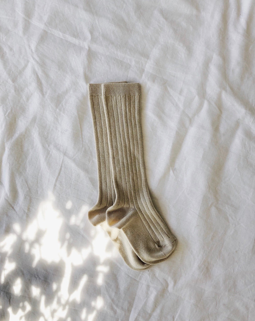 Ribbed Knee High Socks - Oat