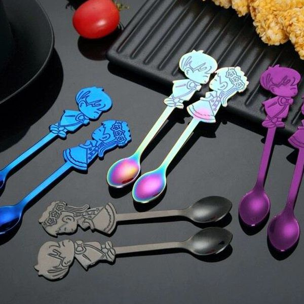 2Pcs/Set Stainless Steel Couple Coffee Spoon