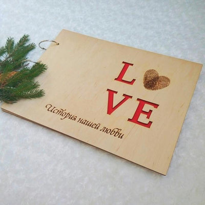 Wooden photo album LOVE