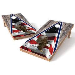 Official Size 2x4 Flag Wood Eagle Cornhole Game