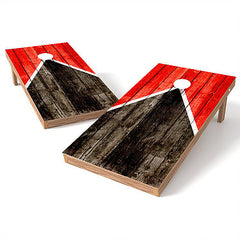 Official Size 2x4 Half Triangle Worn Wood Cornhole Game