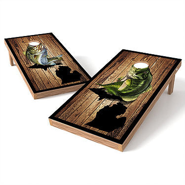 Official Size 2x4 Small Mouth Bass Large Mouth Bass Cornhole Game