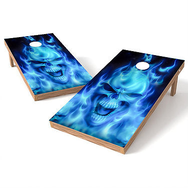 Official Size 2x4 Flames Skull Blue Cornhole Game