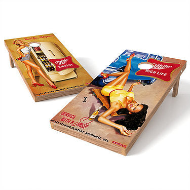 Official 2x4 Miller High Life Pin Up Girls Retro Cornhole Game