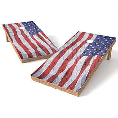 Official Size 2x4 Diamond Plate Flag Cornhole Game
