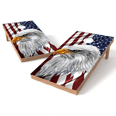 Official Size 2x4 Eagle Eye American Flag Cornhole Game