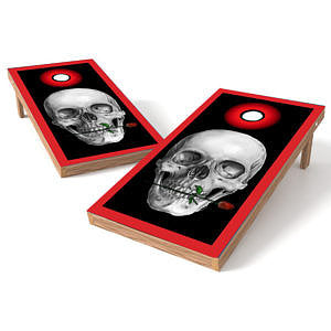 Official Size 2x4 Skull with Red Rose Cornhole Game