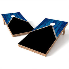 Official Size 2x4 Half Triangle Worn Black and Blue Cornhole Game